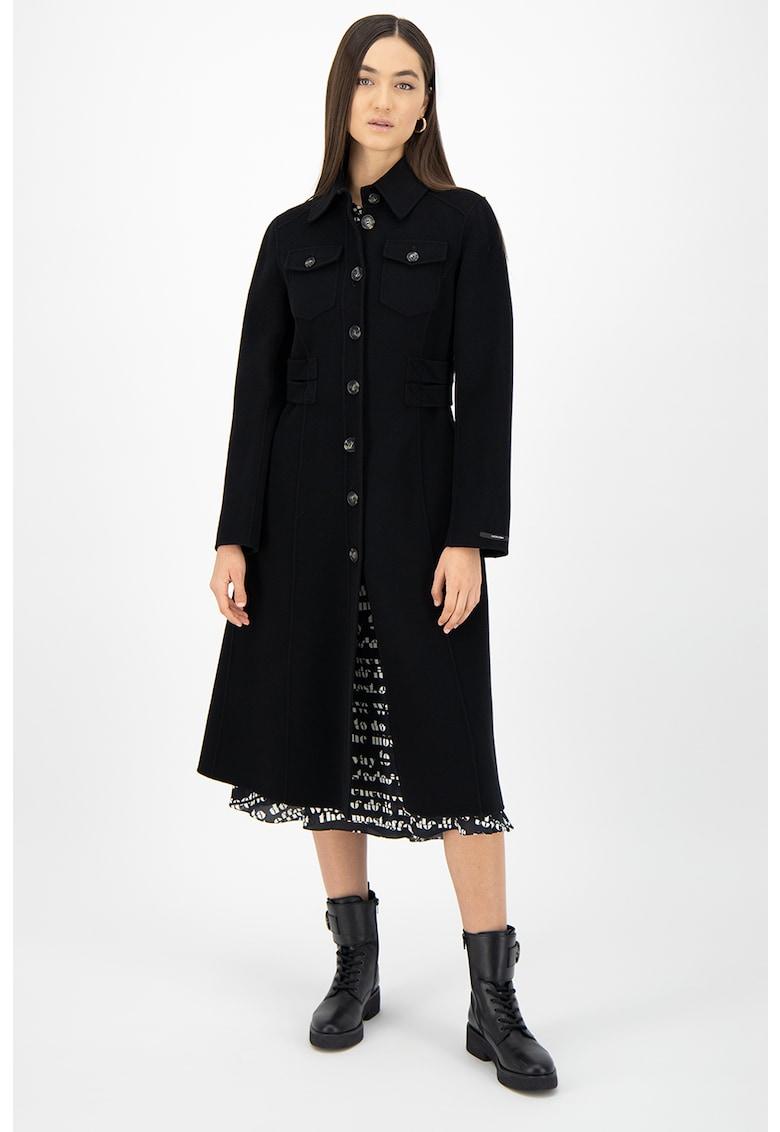 Palton lung de lana virgina