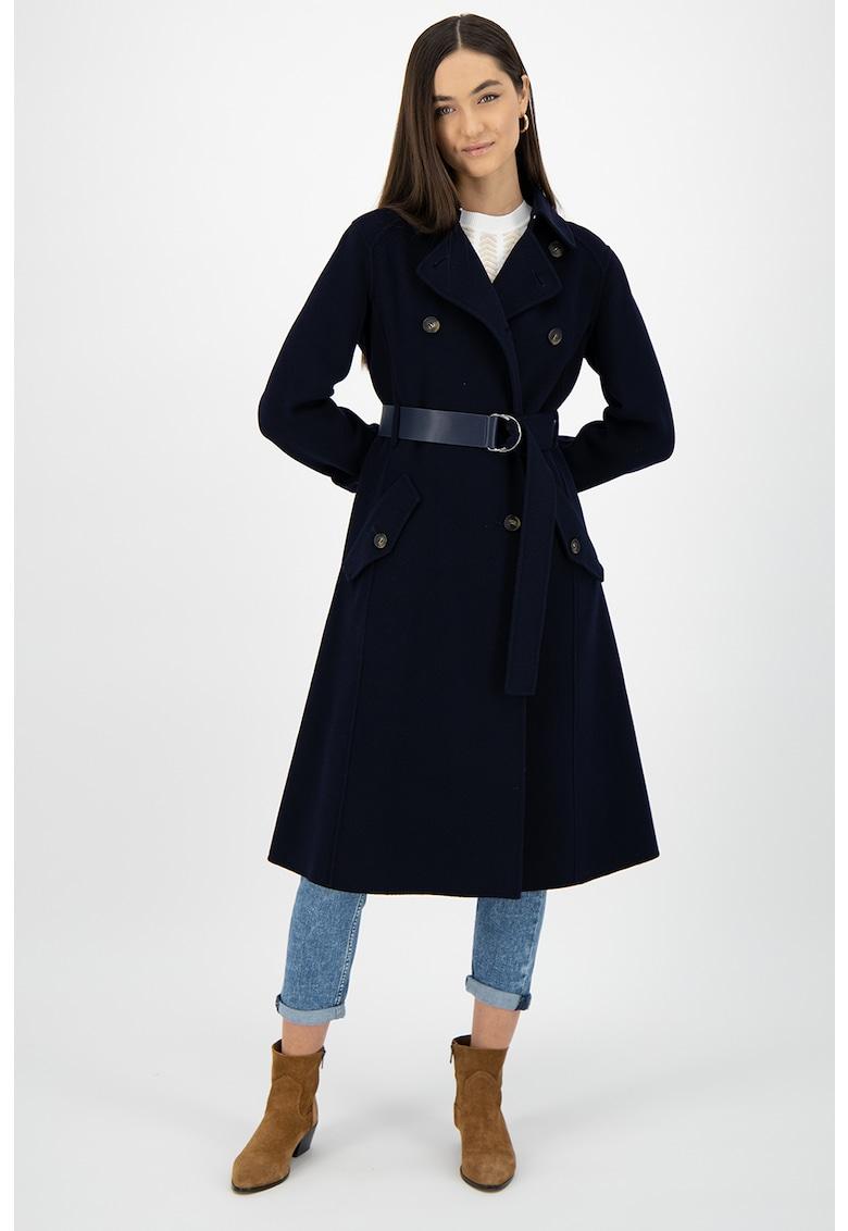 Palton lung de lana virgina - cu un cordon in talie
