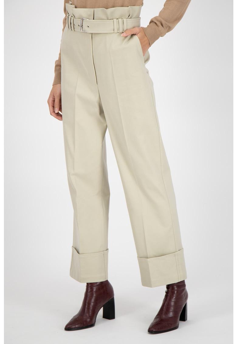 Pantaloni din amestec de lyocell cu talie inalta si curea imagine fashiondays.ro