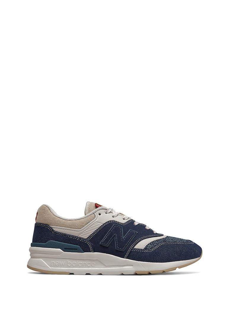 Pantofi sport cu garnituri din piele intoarsa si denim 997H imagine