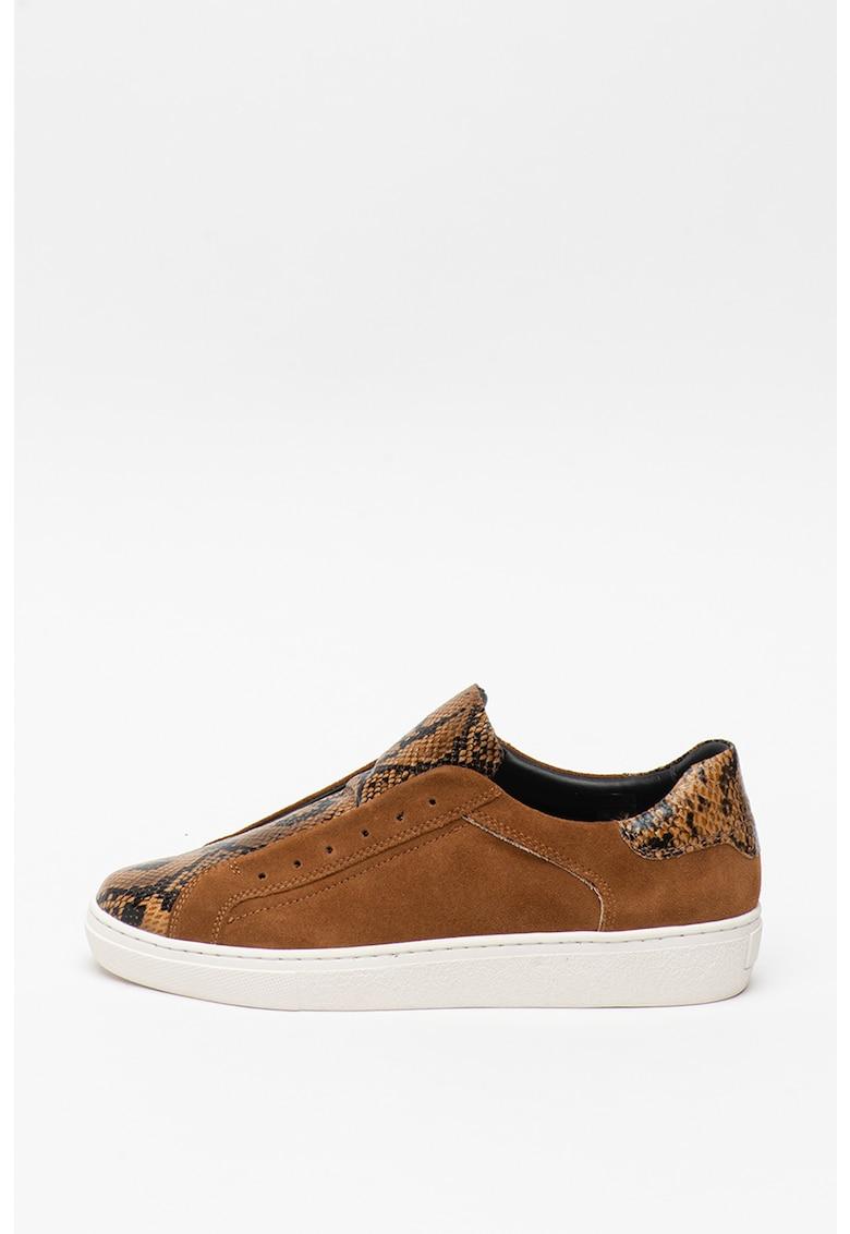 Pantofi sport slip-on de piele intoarsa cu garnituri de piele ecologica Mary