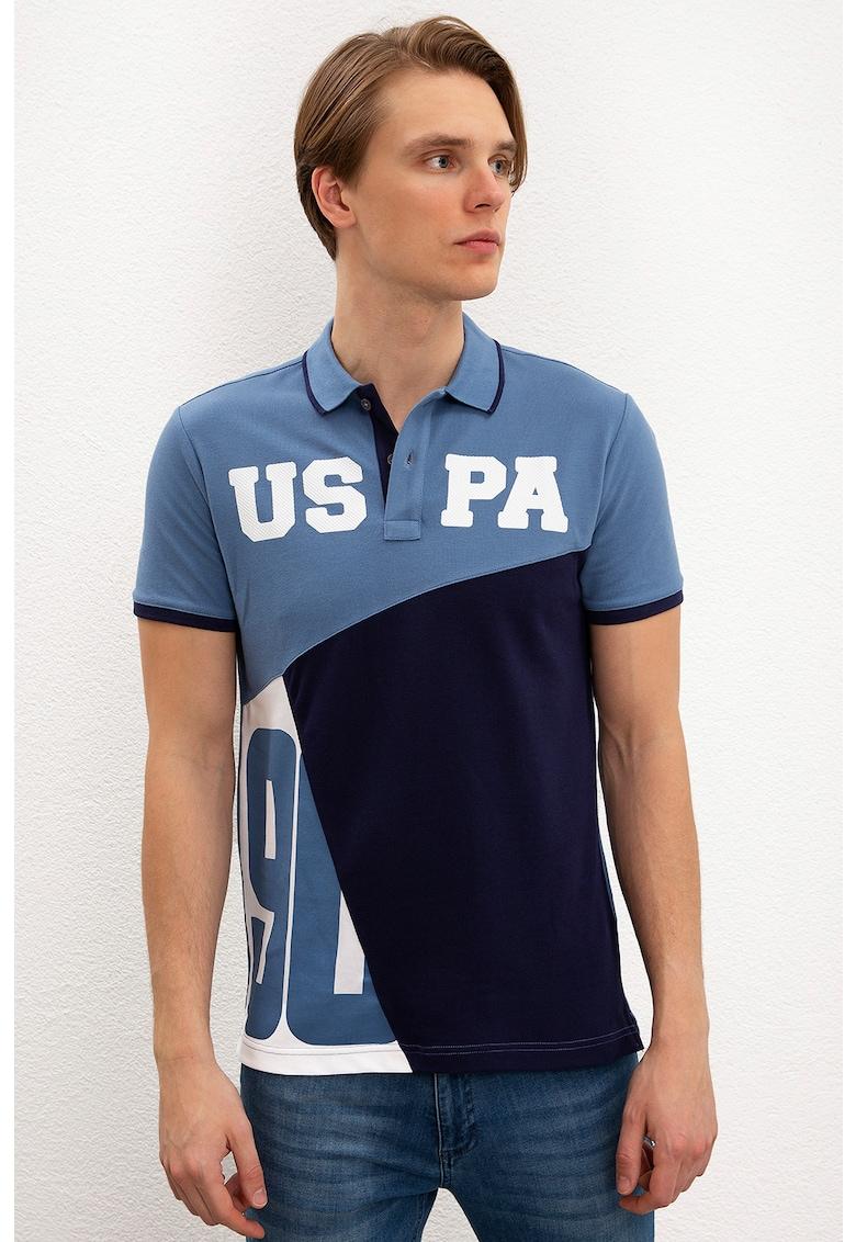 Tricou polo slim fit cu imprimeu logo