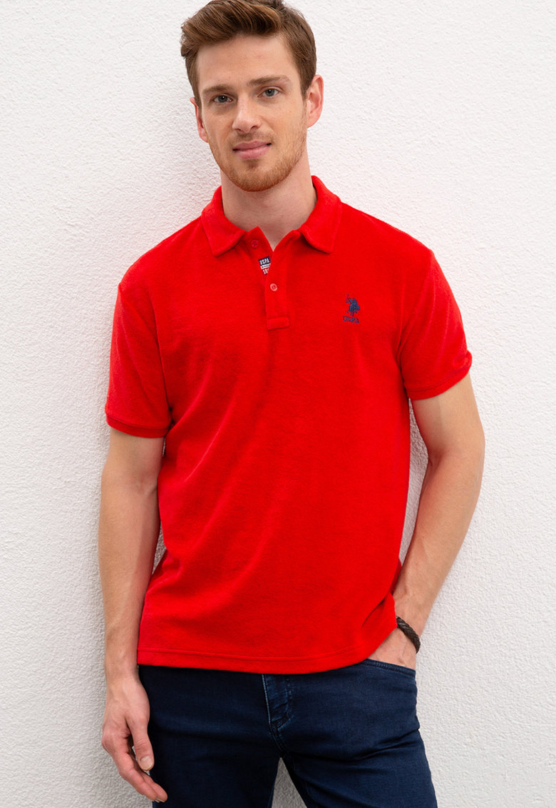 Tricou polo regular fit din terry