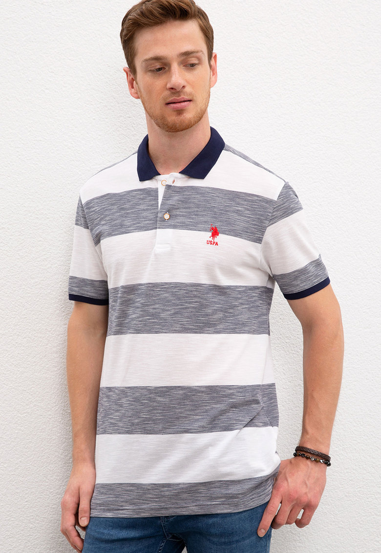 Tricou polo slim fit cu model in dungi