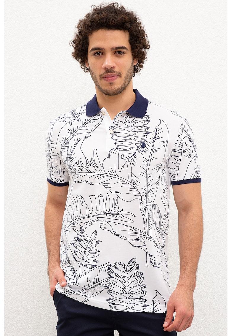 Tricou polo regular fit cu model tropical imagine