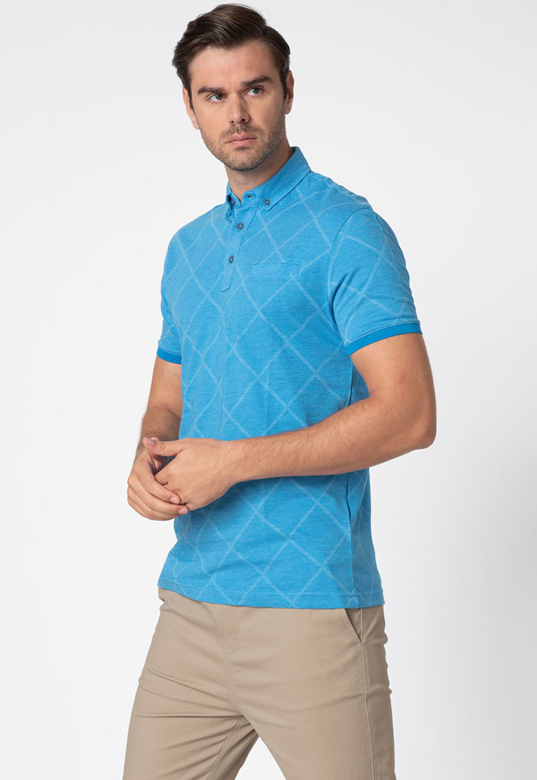 Tricou polo regular fit din pique
