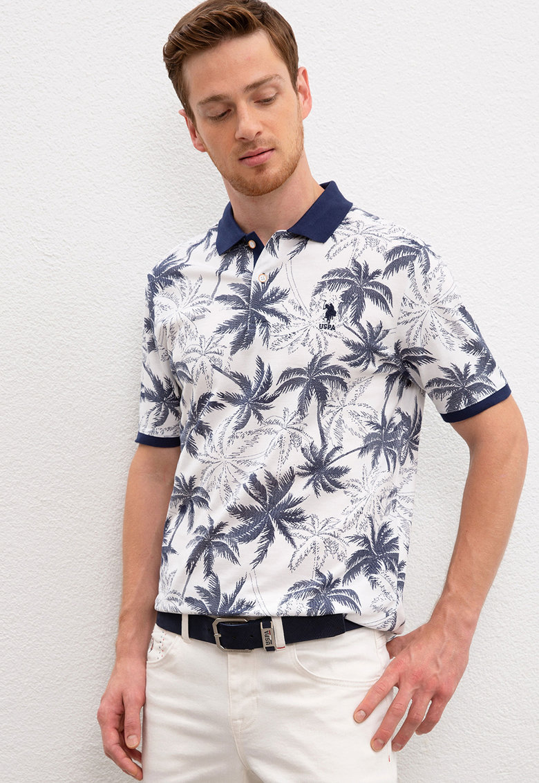 Tricou polo cu model tropical