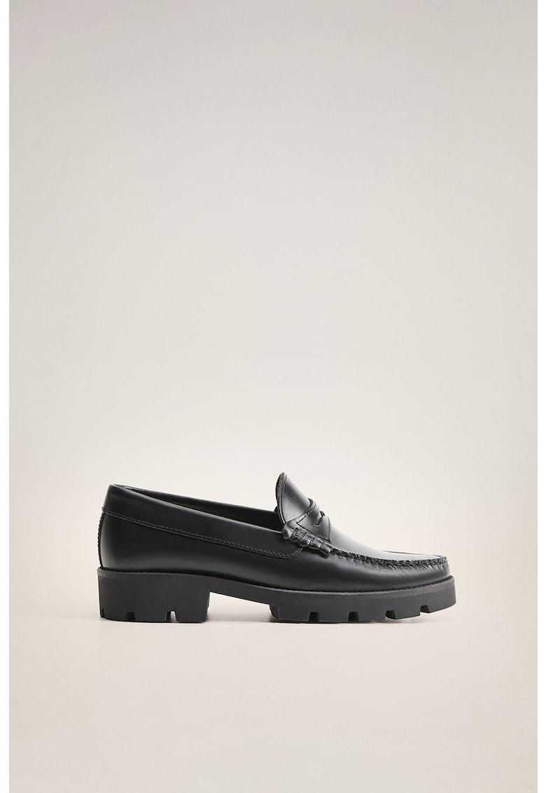 Pantofi loafer de piele cu toc masiv imagine