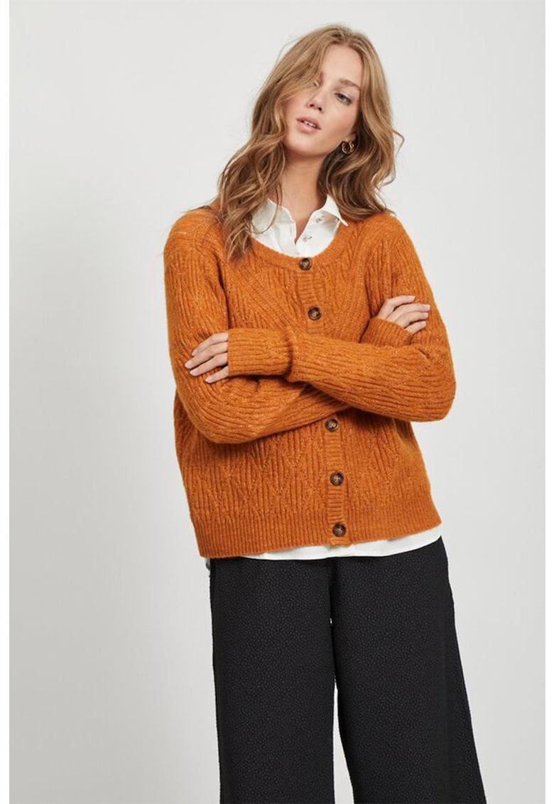 Cardigan din amestec de lana - cu aspect de tricot fin imagine fashiondays.ro