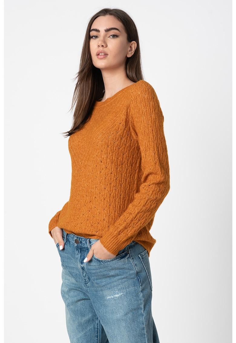 Pulover din amestec de lana cu model torsade