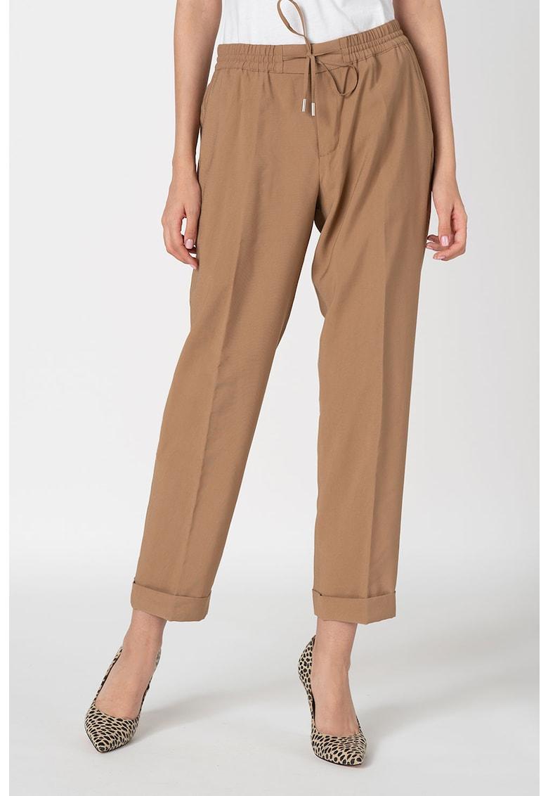 Pantaloni crop cu snur in talie