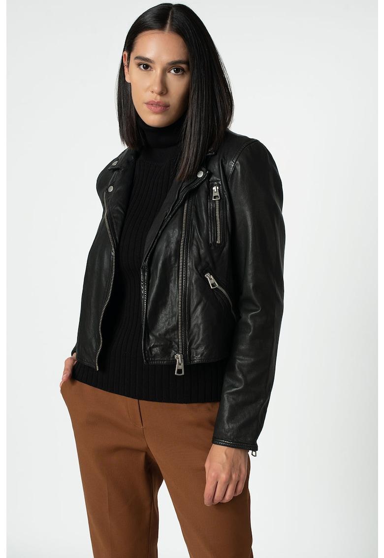Jacheta de piele cu buzunare
