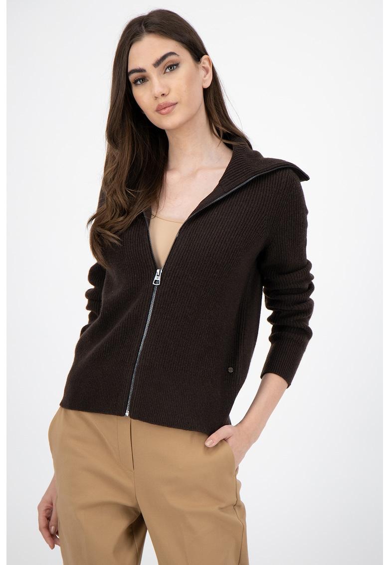 Cardigan din amestec de lana virgina cu fermoar imagine promotie