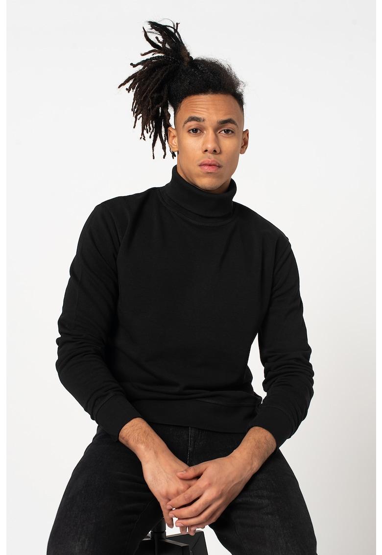 Bluza cu guler inalt si garnituri striate