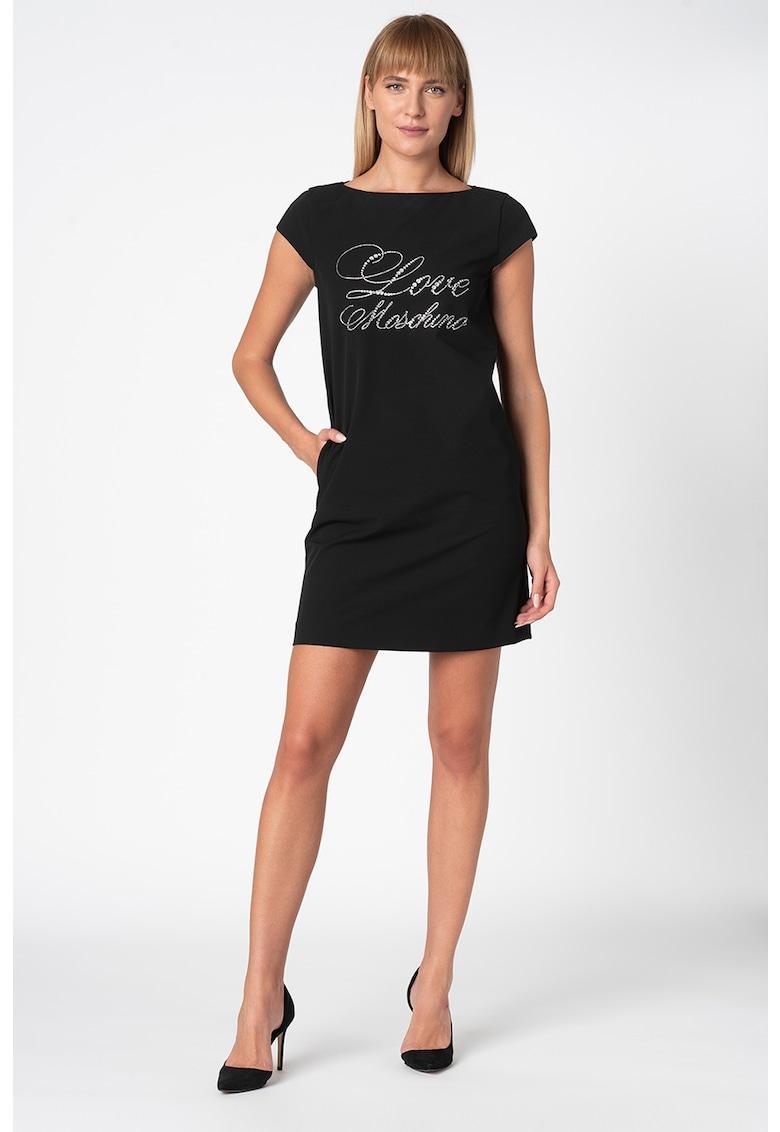 Rochie mini cu logo supradimensionat cu strasuri