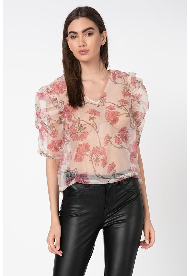 Bluza transparenta cu model floral si maneci bufante imagine