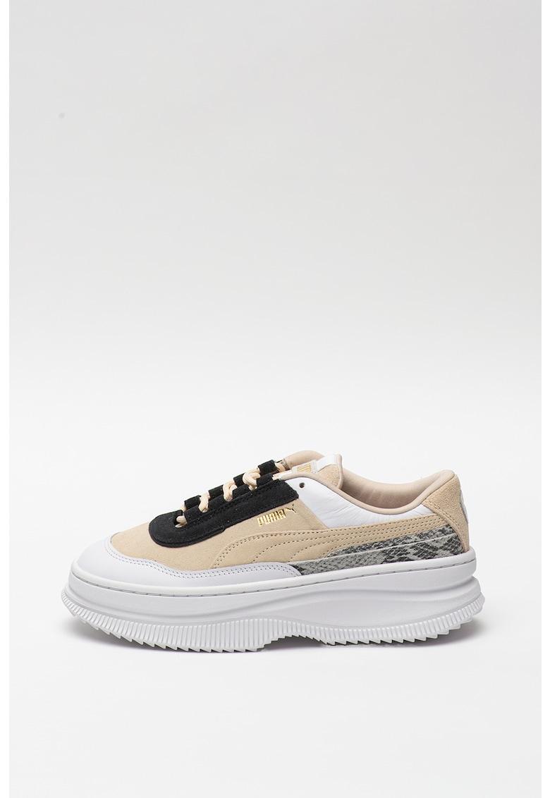 Pantofi sport de piele si piele intoarsa cu insertii cu aspect de piele de sarpe Deva