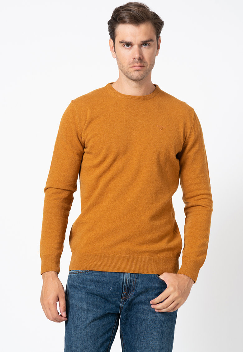 Pulover tricotat fin cu logo poza fashiondays