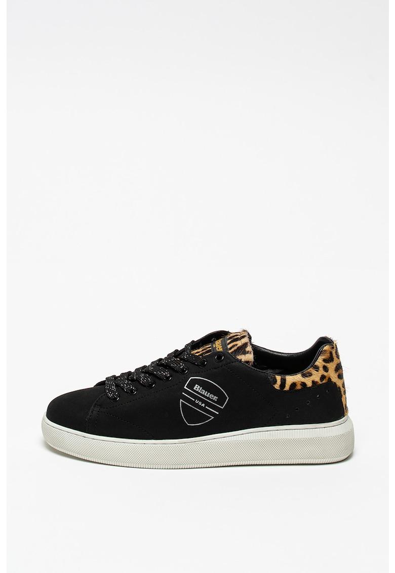 Pantofi sport de piele cu garnituri de piele cu par scurt Kendall imagine