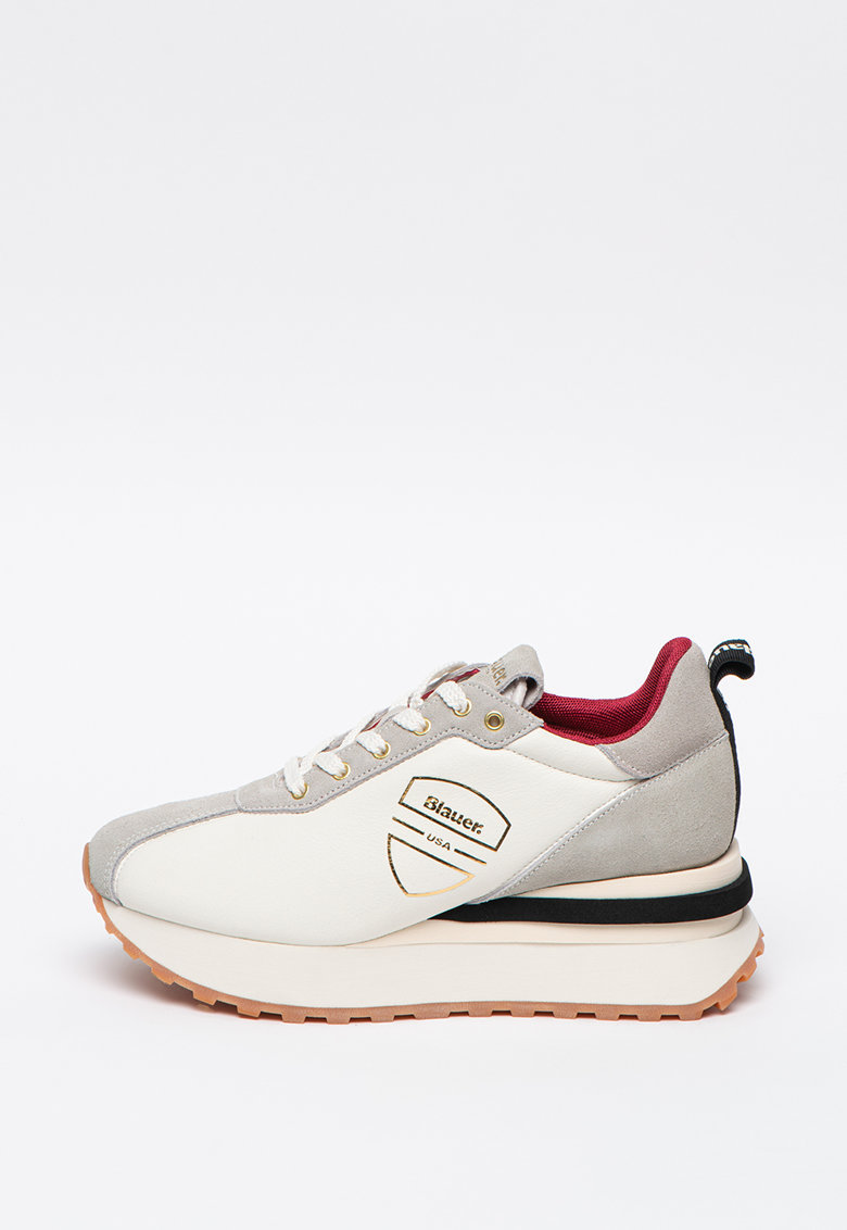 Pantofi sport wedge de piele si piele intoarsa Mabel imagine