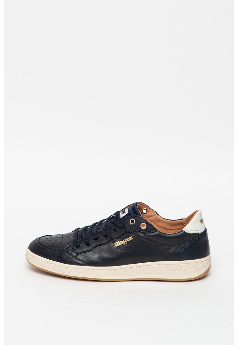 Pantofi sport de piele cu insertii de plasa