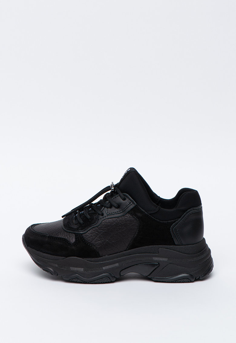 Pantofi sport wedge slip-on cu insertii de piele intoarsa Baisley