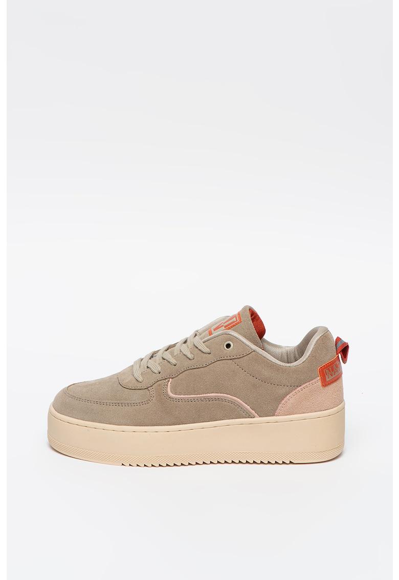 Pantofi sport din piele intoarsa cu logo Foriver