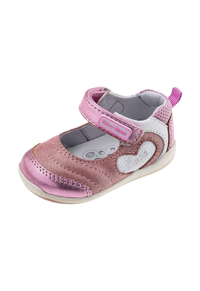 Pantofi Mary Jane de piele si piele intoarsa