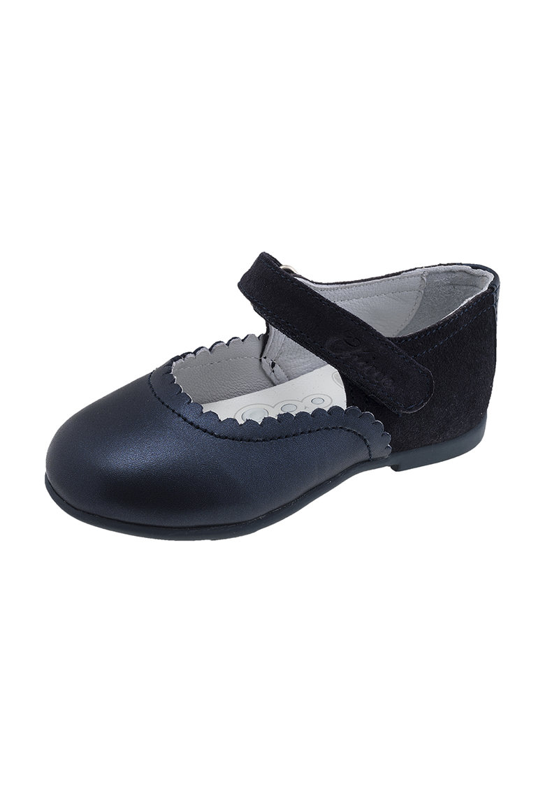 Pantofi Mary Jane de piele cu terminatii valurite