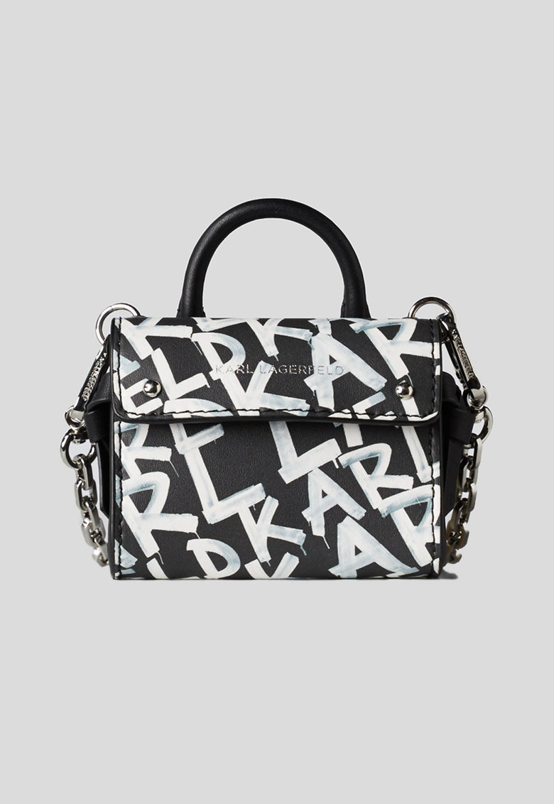 Geanta de piele cu maner si logo K/Ikon Nano imagine fashiondays.ro