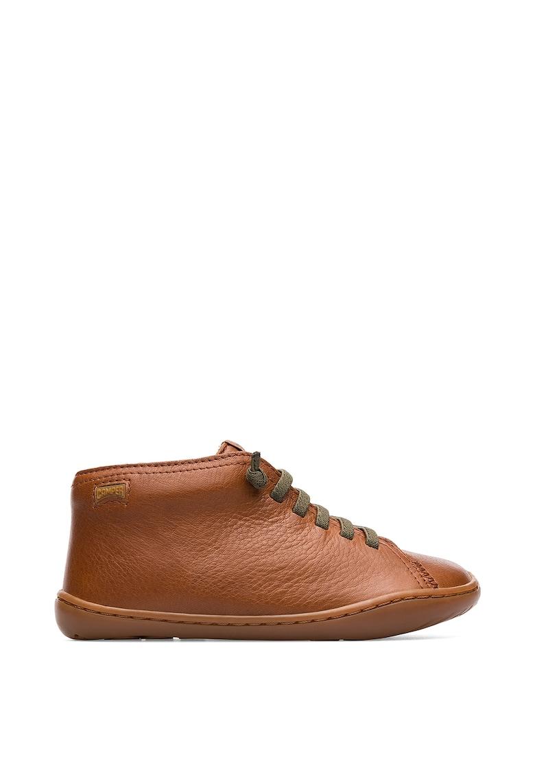 Pantofi de piele cu sireturi contrastante