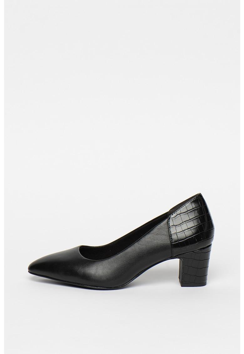 Pantofi de piele cu garnituri cu aspect de piele de reptila imagine promotie