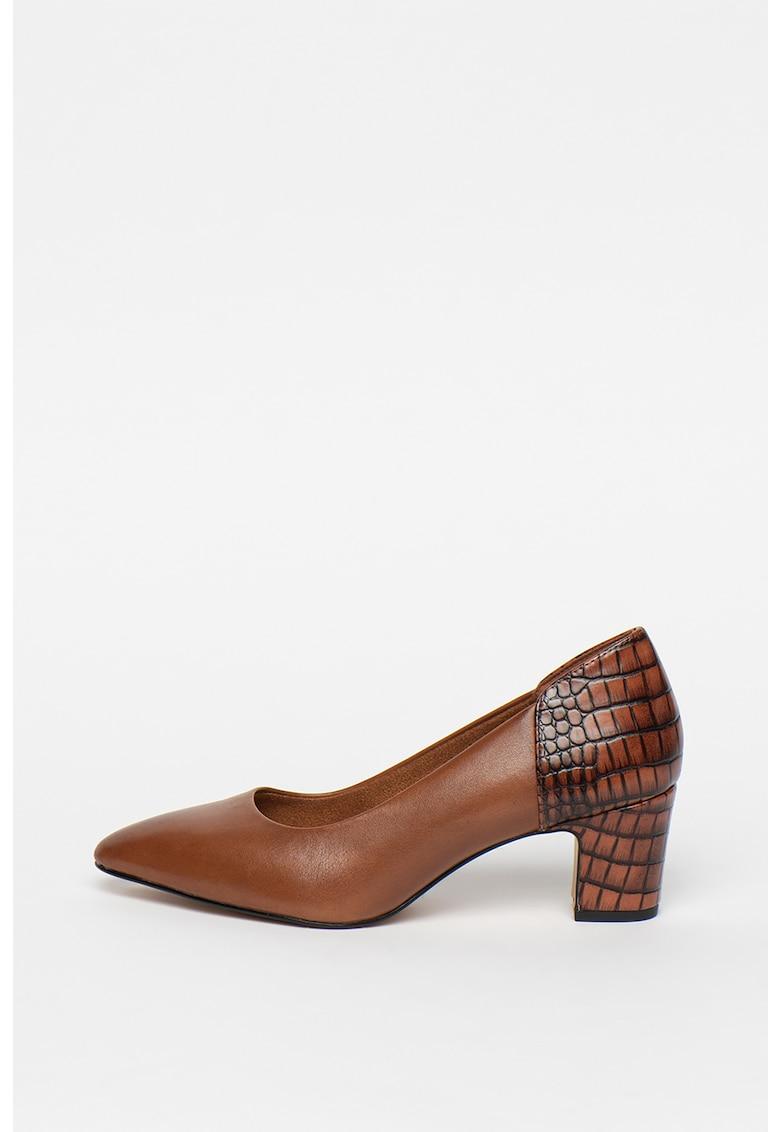 Pantofi de piele cu garnituri cu aspect de piele de reptila