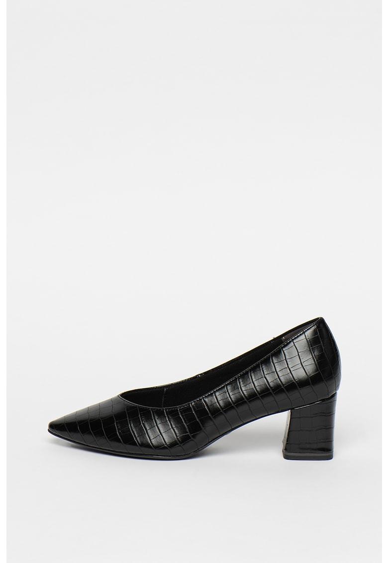 Pantofi cu varf ascutit - aspect piele de reptila si toc masiv