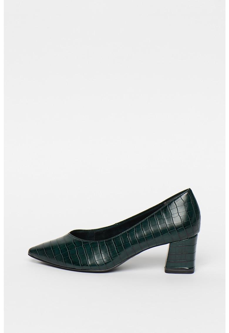 Tamaris Pantofi cu varf ascutit - aspect piele de reptila si toc masiv