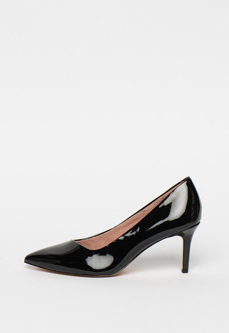 Pantofi stilettos cu varf ascutit si aspect lacuit