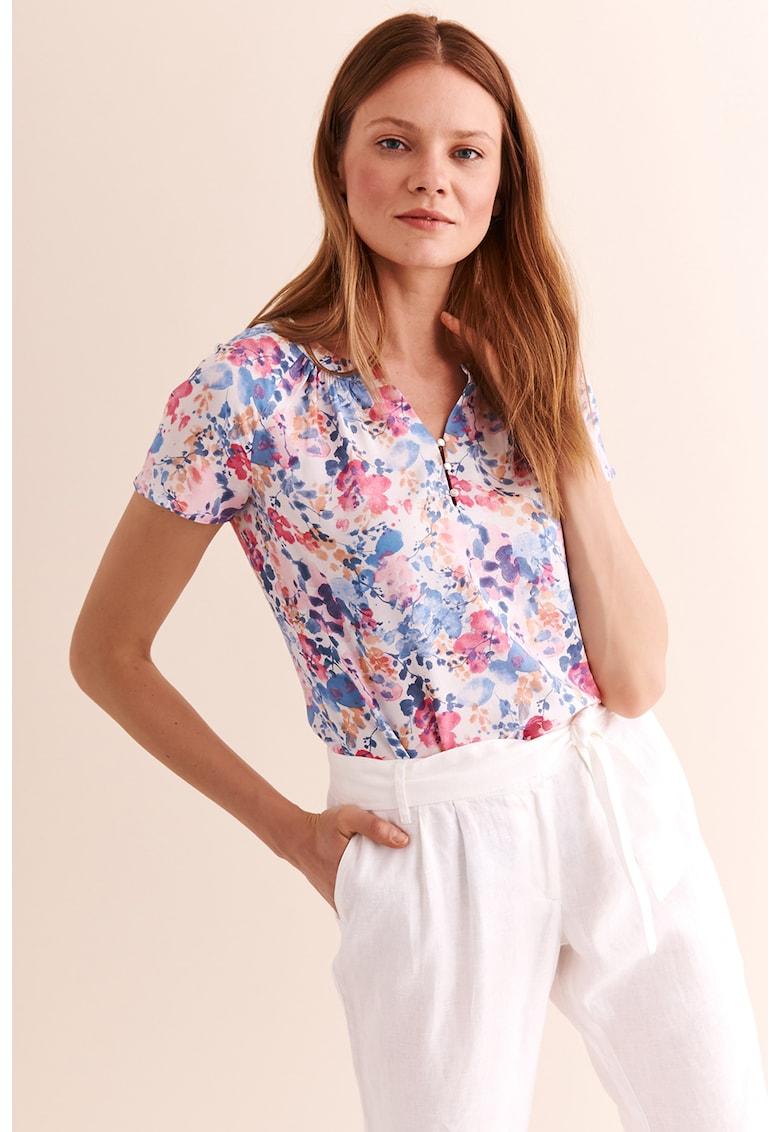 Bluza cu decolteu in V si model floral Freja