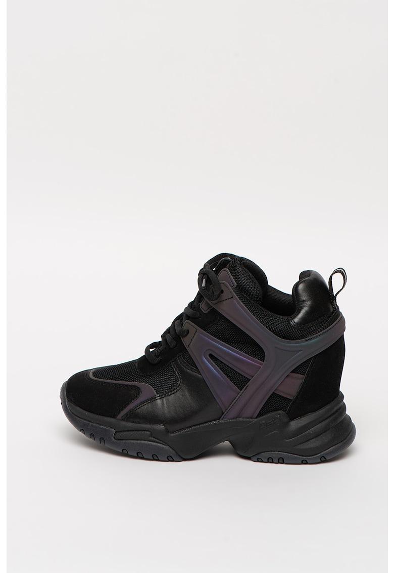 Pantofi sport wedge de piele nabuc cu platforma wedge ascunsa Infinity