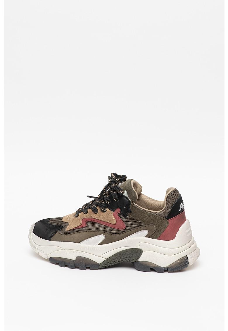 Pantofi sport wedge cu insertii de piele intoarsa si piele nabuc Addict