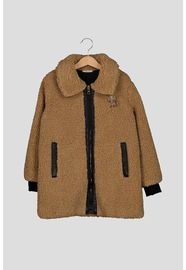 Jacheta din material teddy cu fermoar