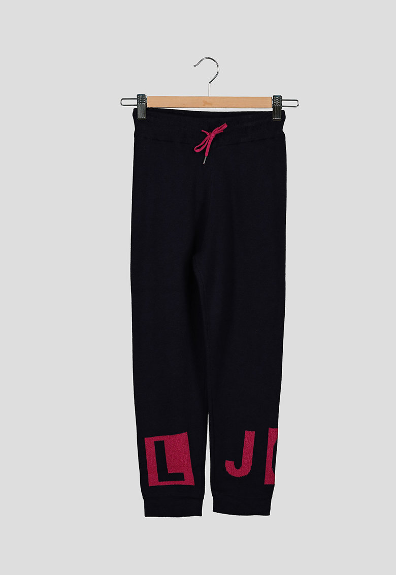 Pantaloni sport de jacquard cu logo si aspect tesut