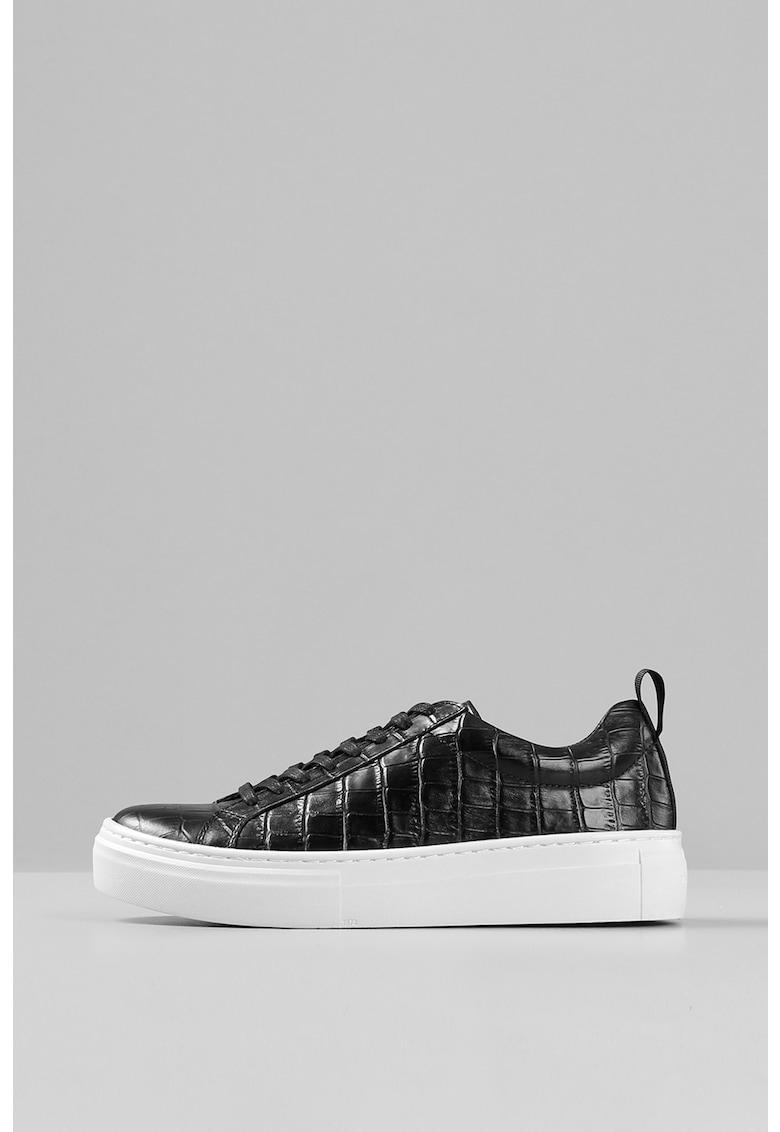 Pantofi sport flatform de piele cu aspect de piele de crocodil Zoe imagine