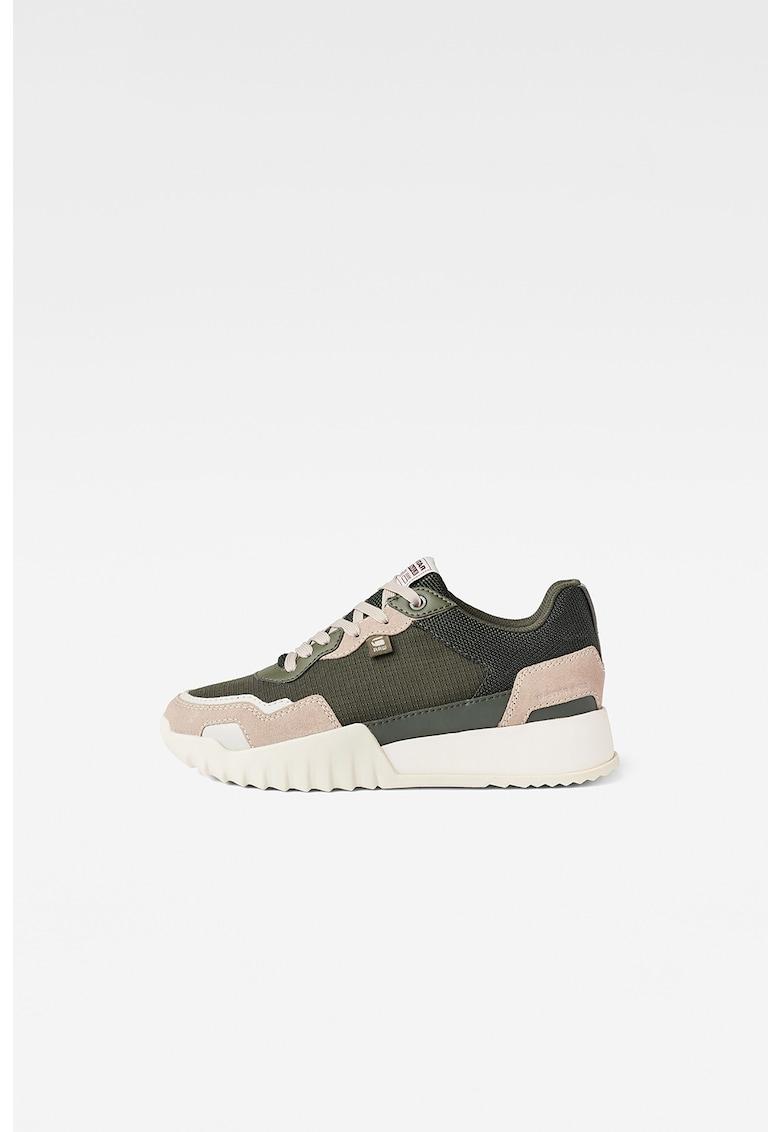 Pantofi sport din piele intoarsa si piele cu insertii din material textil