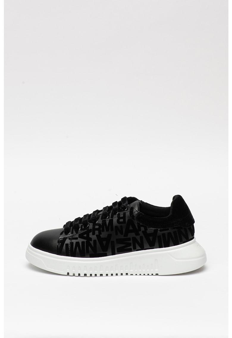 Pantofi sport de piele si piele ecologica cu insertii de plasa 3
