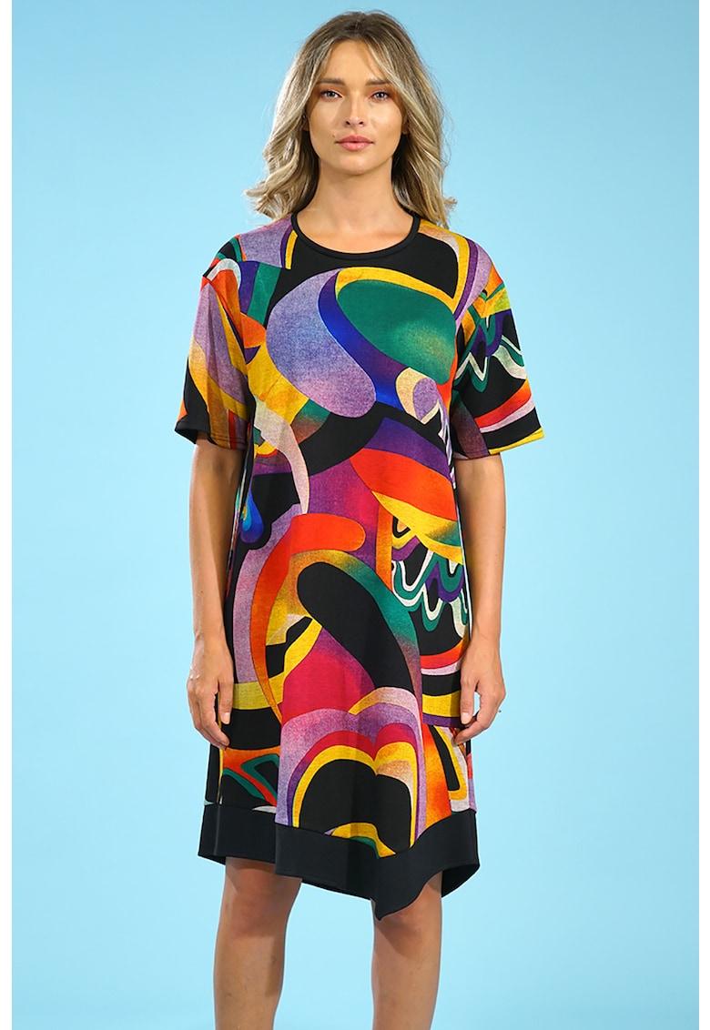 Rochie tip tricou cu imprimeu abstract Format-Lady