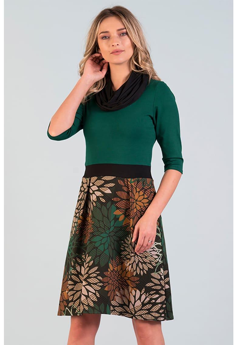 ROchie cu decolteu drapat si model floral Format-Lady