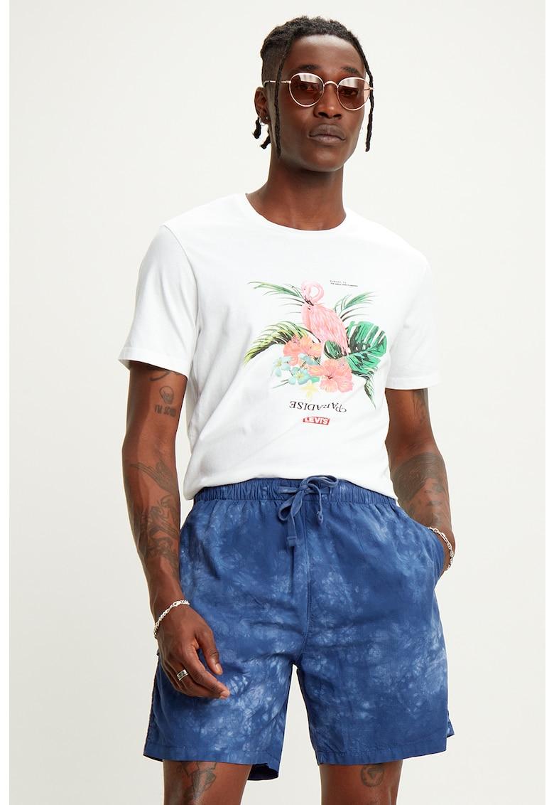 Tricou cu decolteu la baza gatului si imprimeu tropical