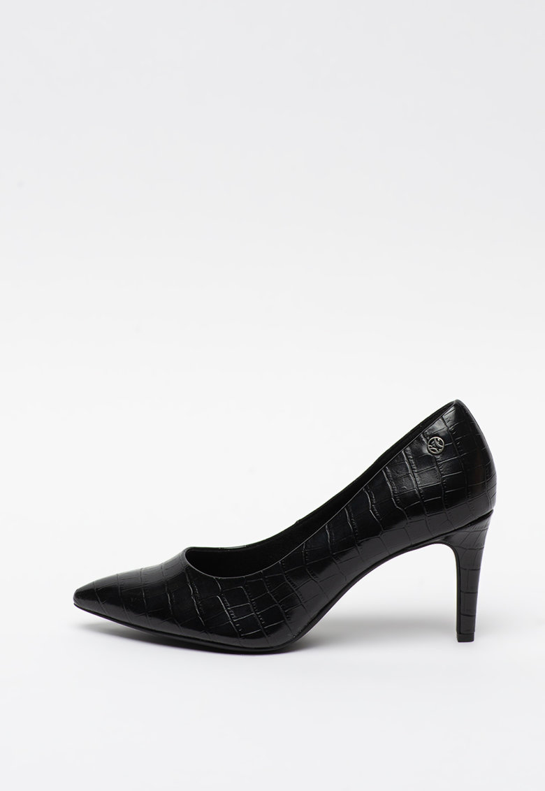 Pantofi din piele ecologica cu aspect de piele de crocodil