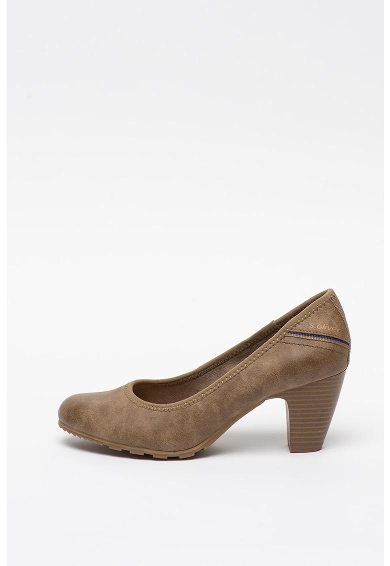Pantofi din piele ecologica cu toc masiv