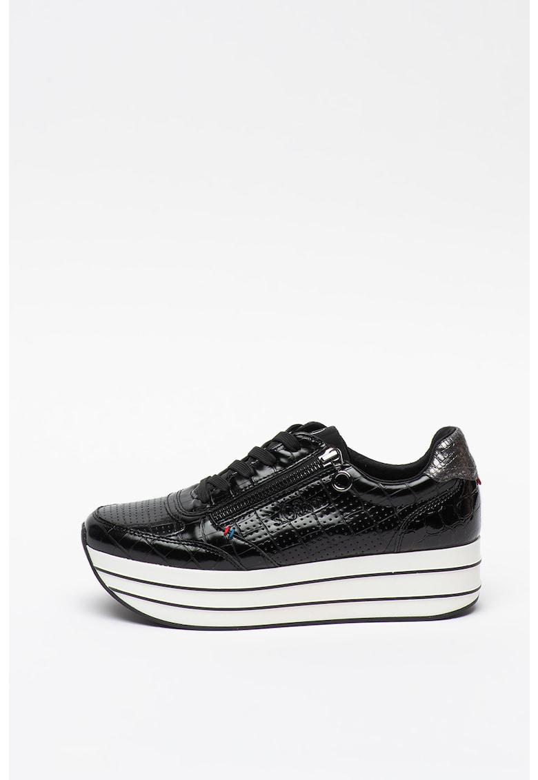 Pantofi sport flatform din piele ecologica cu insertii din plasa